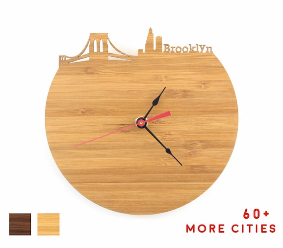 Brooklyn New York Skyline Clock Modern Time Zone Large Wall Etsy
