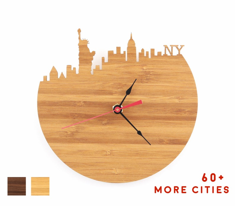 NYC Skyline Clock  New York City Time Zone Mid Century Modern image 0