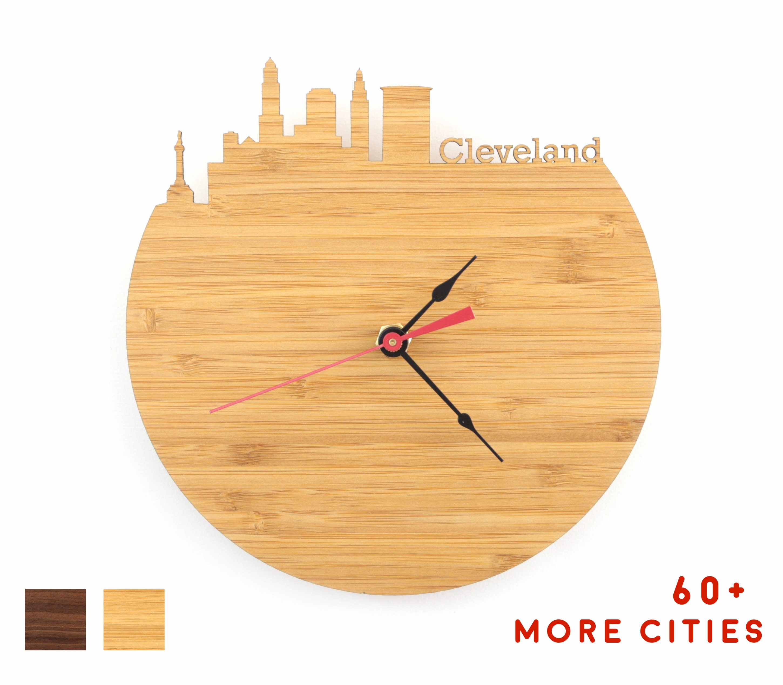 Brilliant Cleveland Skyline Wood Clock Ohio Time Zone Clock For Mid Century Modern Style Download Free Architecture Designs Xoliawazosbritishbridgeorg