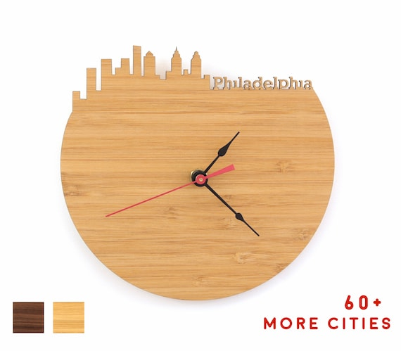 Philadelphia Skyline Clock Philly Office Desk Accessories Etsy