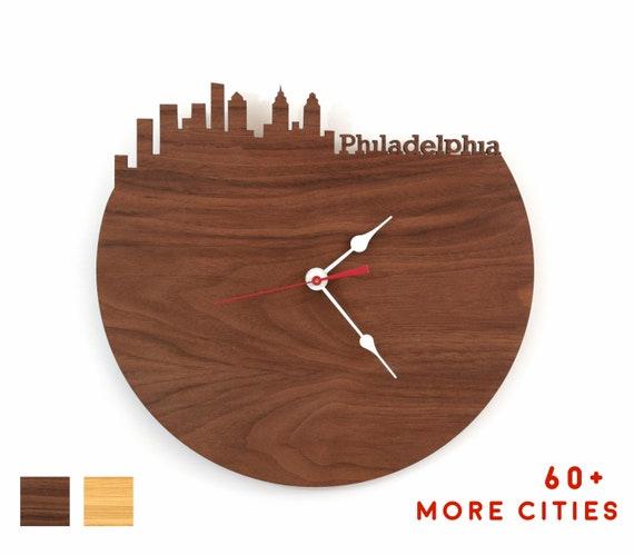 Philadelphia Skyline Clock Philly Large Wooden Clock Man Etsy