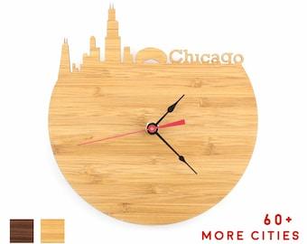 Chicago Skyline Wall Art Clock - Illinois Time Zone Wood Clock