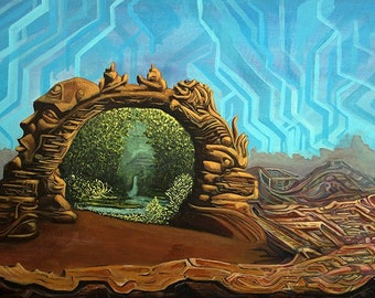 """Fine art paper poster print, psychedelic spiritual portal art, Calabrated Encryptions - 12"""" x 18""""  by Larry Calabrese and Subtlecodes"""