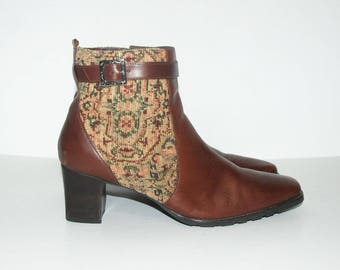 Size US 10 / Vintage Tapestry and Leather Ankle Boots