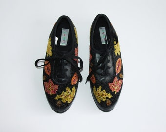 Size US 8   Beaded Leather Sneakers  ca0e8a40b6c