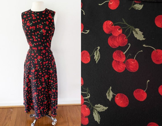 Cherries Evening Dress | Talbots, Vintage | Size M