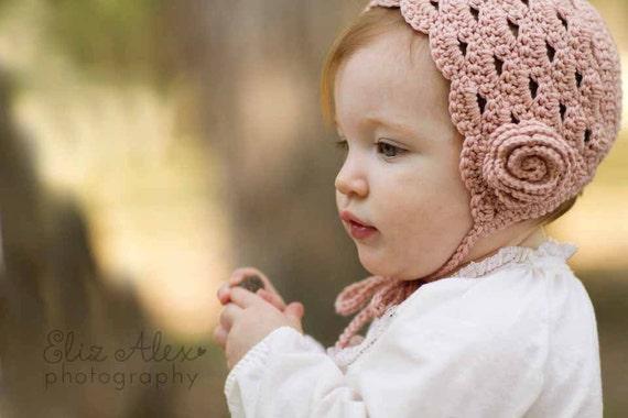 Baby Mütze Häkeln Taufe Taufe Rosa Creme Wolle Kaschmir Mit Etsy