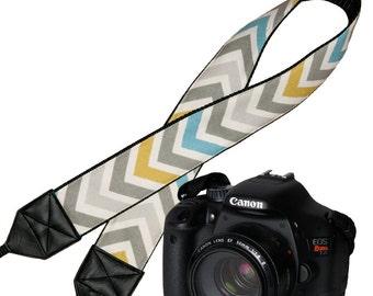 Chevron Deluxe Padded Camera Shoulder Strap, Women's DSLR Padded Camera Strap,  Padded  Camera Strap  Nikon Canon Strap, Chevron, In Stock