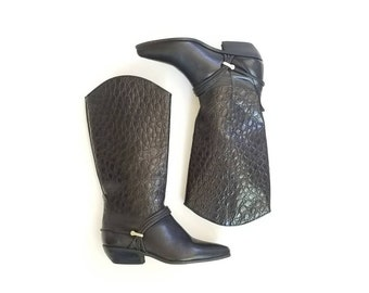 Vintage Womens 5.5 Bootalino Riding Boots Tall Pull On Black Leathet Moto Biker Boots Motorcycle Hipster Style Classic Boho Spring Fashion