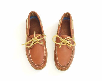 Mens 8 Sperry Top Sider Boat Deck Shoes Classic Preppy Style Hipster Brown Leather Shoes Loafers Dress Casual Rubber sole Comfortable
