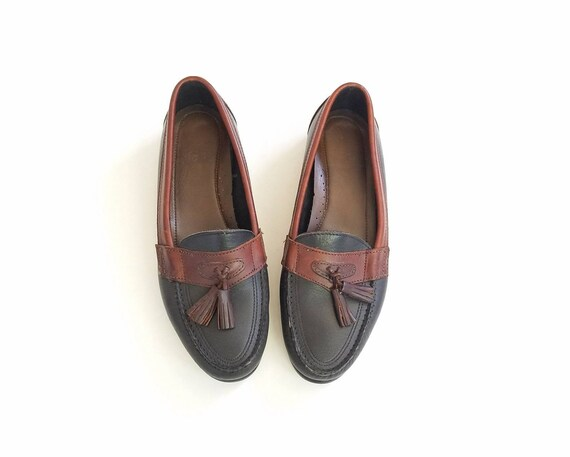 On Tone Boho Topsider Hipster Black Boat Shoes Brown Leather Loafer Deck Bass Two 7 Oxfords Womens Slip Shoes Tassel 5 Loafers Vintage qvSU7wxwH