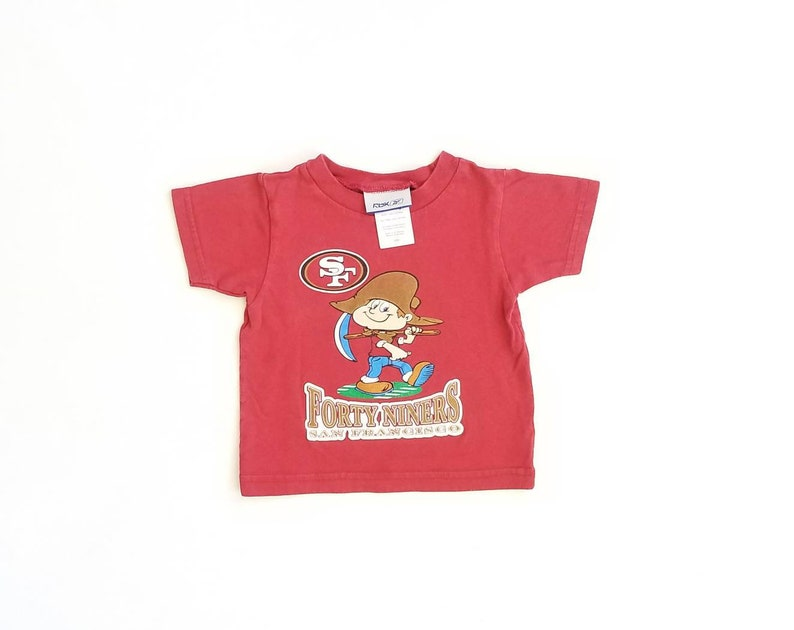 f63e079e Vintage 12m 12 Months Baby Girls Boys Reebok 49ers San Francisco Forty  Niners Miners Crew Neck Tshirt Red Burgundy Classic Sports Wear Gear