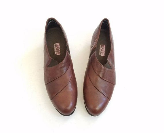 Oxfords Dress 7 Heeled Spring Slip Casual Vintage American On Munro Hipster Hippie Brown Boho Leather Fashion Summer Pumps Loafers Womens z4Pwx8