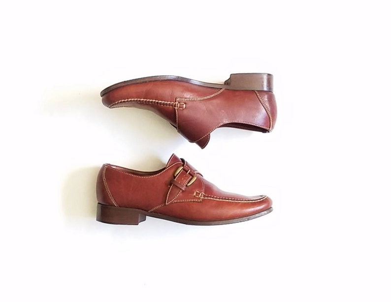 65a86def7f04a Vintage Womens 9.5 Cole Haan Genuine Handsewn Monk Strap Oxfords Loafers  Dress Shoes Brown Leather Classic Street Style Work Wear Designer