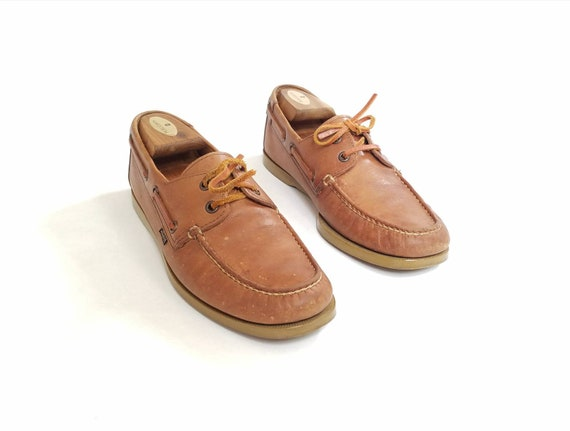 pont chaussures chaussures Brown cravate bateau v Hipster Preppy Mens Tan 8 Casual baskets Vintage cuir mocassins mocassin Style 5 Levis 7C8wq6S