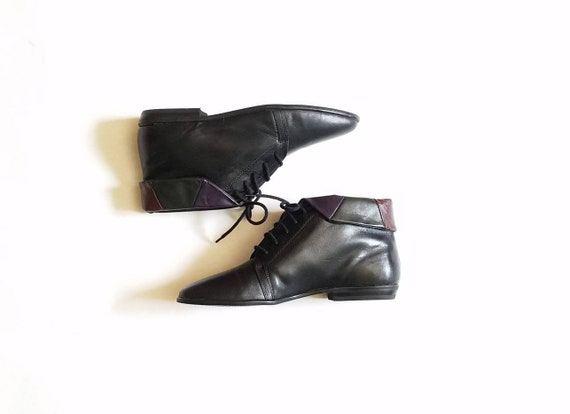 bottines Biker Moto cuir Vintage 5 8 chaussons noir Femmes pointu bout Ellemenno Cindy color Boot 0vqPxwZw