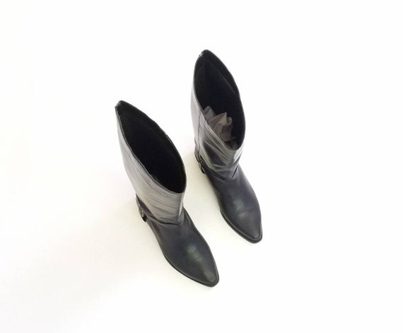 Classic Vintage Boots On Ten Boots Riding 7 Biker Fashion Equestrian Pull Leather Studio Womens Rider Hipster Black Boho Boots Tall rTgZqr