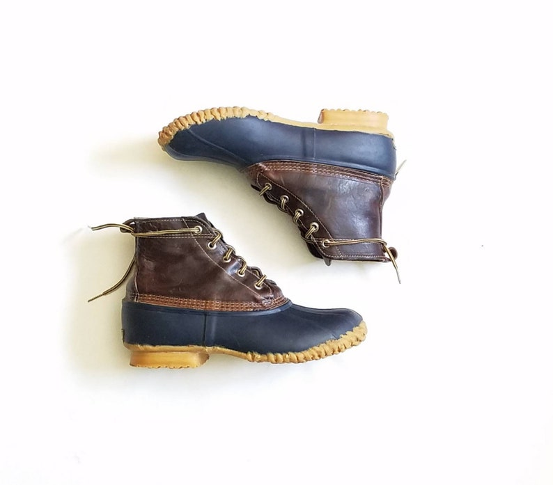 af52e32ddb87c Vintage Mens 8 Eddie Bauer Rain Boots Hightops Rubber Leather Waterproof  Rain Snow Boots Shoes Ankle Boot Bootie Duck Ducky Duckie Boots