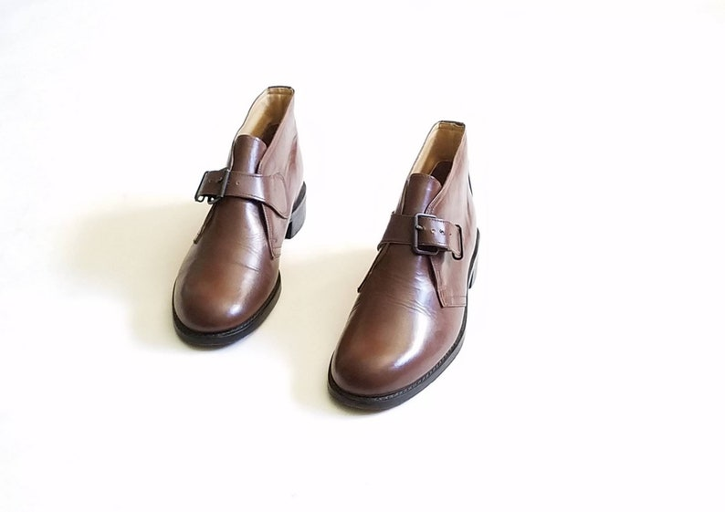 90af4a1d926b4 Vintage Mens 8 / Womens 9.5 Haband Monk Strap Ankle Dress Boots Boot  Booties Brown Leather Classic Hipster Streetwear Style Fashion Preppy
