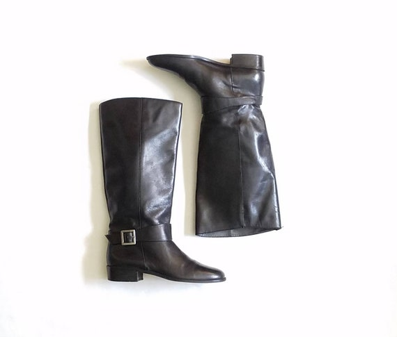 Vintage Womens 7.5 Unisa Tall Pull On Black Leather Riding Campus Boots Boot Classic Equestrian Streetwear Style Bohemian Hipster Moto Biker