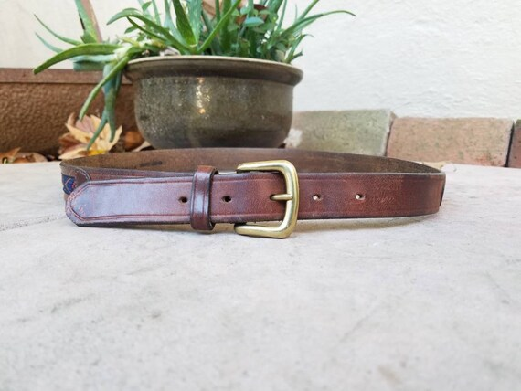 b0b68cb18bbb23 Vintage Mens Belt Size 36 Small Medium Genuine Leather Aztec