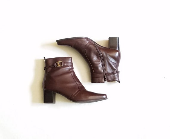 kenza Femmes 5 Bottine Bootie en marron cuir bottes bottines tresse Vintage 9 wwqHxa7