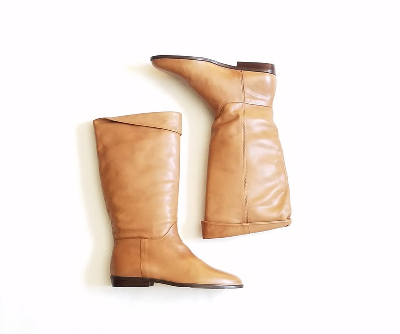 470edef8aae17 Vintage Womens 6 Nine West Ribina Tan Leather Pull On Pointy Toe Riding  Boots Boho Classic Hipster Country Western Southwestern 90s Biker