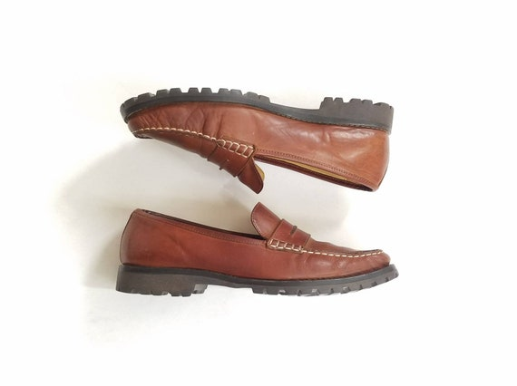 Classic Boho Brown Dress Penny Haan Vintage Designer Shoes Slip Leather Womens 8 Hipster Loafers On Loafer Fashion Cole Preppy vIwna6Yn
