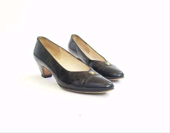 Salvatore italienne verni hippie Vintage ann noir Cocktail cuir en Femmes pompes talons 8 des or Ferragamo gTEAR