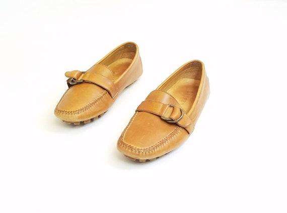 Tan sangle le Oxford en pont bateau naturelles cuir Lauren mocassins mocassins chaussures glissez Ralph Femmes Boho sur 5 Vintage moine v7xO40