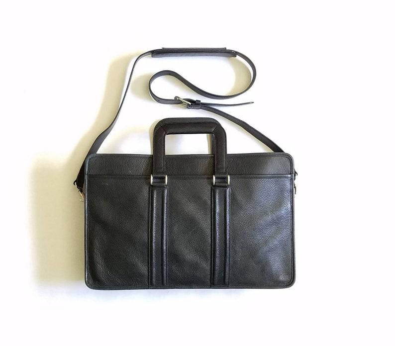 fa87f7f036 Vintage lever noir cuir cartable bandoulière sac école travail | Etsy