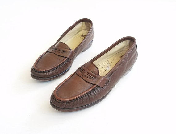 Vintage Loafers Womens Casual Shoes Genuine On SAS Walking Penny Shoe Shoes Comfortable Leather Comfort Loafer Preppy Brown 9 Slip USA rrCw1Yq