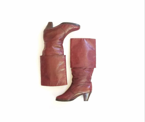 Boots Pull Vintage On Moto Campus Boots 37 Leather Moxie EU 6 Bally Boots Burgundy Tall Maroon Riding Italian Womens Dress 5 80s Biker Roper arwq6Zpa