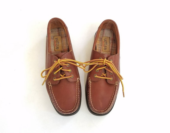 Preppy Brown Shoes Walking Boat Womens Classic Shoe Sneakers Shoes Style 7 Leather Shoes Up Deck Hipster Lace Tie Falmouth Loafers Eastland qFawRSI