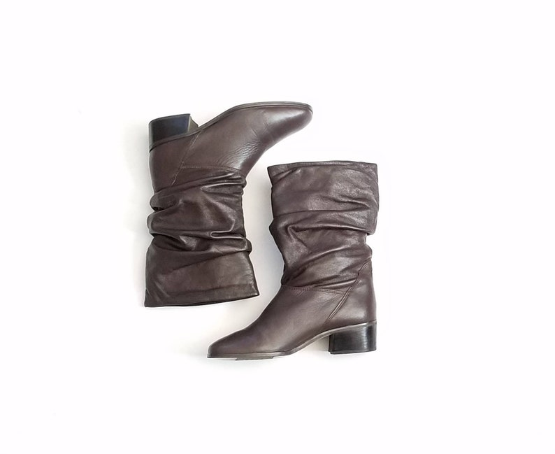 9ef9e191b71e2 Vintage Womens 7 Hunt Club Slouch Boots Boot Bootie Booties Brown Leather  Classic Riding Rider Biker Moto Boho Hipster Preppy Ankle Fall
