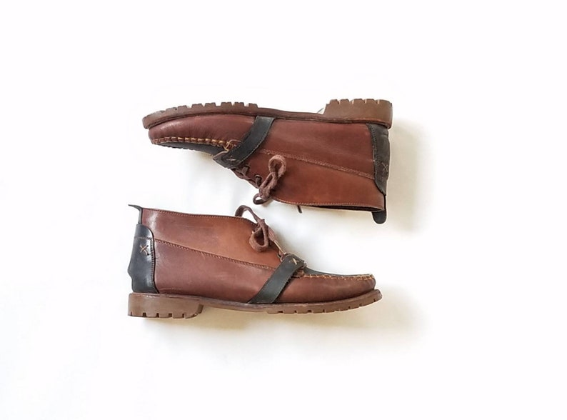 4711a2a5f349c Vintage Womens 10 Arara Rainier Two Tone Leather Ankle Boots Boot Booties  Bootie Genuine Leather Work Chukka Boots Workwear Streetwear Style