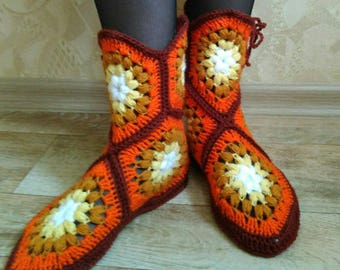 Crochet Slippers, Womens boots, Yarn shoes, Crochet Socks, House Shoes, Handmade Shoes, House slippers, Indoor Shoes, Home Accessories