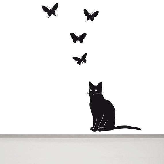 cat sticker cat wall decal butterfly wall decal cat decals | etsy