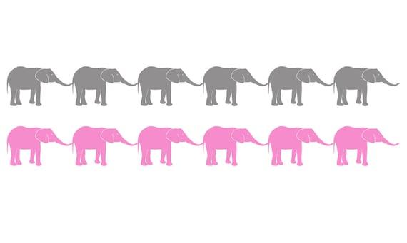 Kinder Bordure Elefanten Wandtattoo Madchen Bordure Baby Etsy