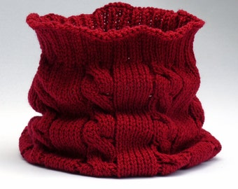 Dark red cable knit cowl, red infinity scarf, snood