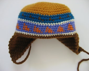 wool toddler chullo hat with earflaps
