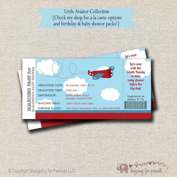 Avión bebé ducha invitación de billete Invitación del boleto