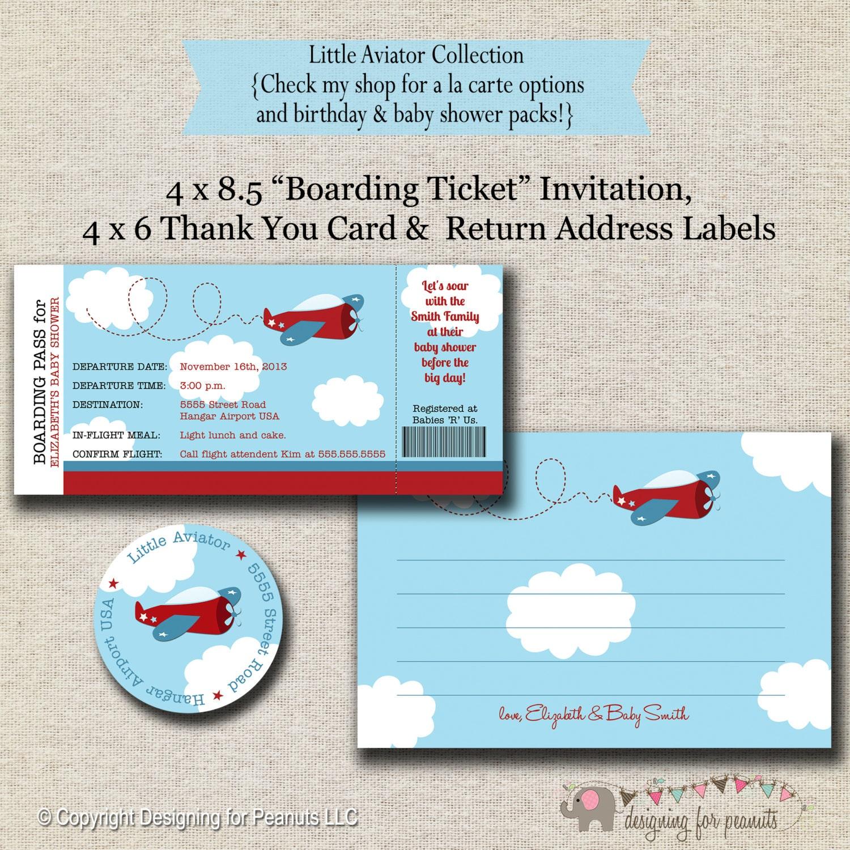 Invitación de aeroplano gracias tarjeta y etiqueta de | Etsy