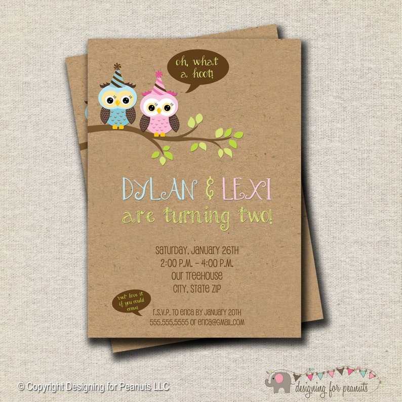 Owls Birthday Invitation Twin Woodland