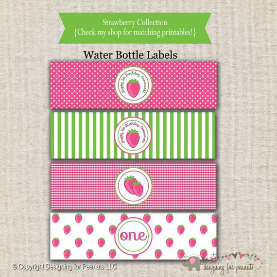 Strawberry Shortcake Inspired Water Bottle Labels Drink