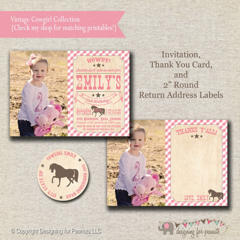 Pony Party Invitation Thank You Card Return Address Labels