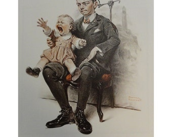 """Norman Rockwell Poster, """" Watch The Birdie """" Boy And A Baby Looking At The Camera Baby Is Crying A Lot, And """" No Swimming """" Three Boys Running For Their Lives, Post Magazine Cover"""