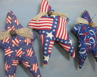 Primitive Americana Star Bowl Fillers- 3 Grungy Fabric Stuffed Stars - Primitive July 4th Decor - Patriotic Bowl Filler - Americana Decor