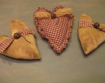 Primitive Heart Bowl Fillers - Set of 3 - Muslin & Homespun Grungy Fabric Stuffed Hearts - Primitive Valentine's Day - Wedding - Anniversary