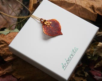 Real Aspen Leaf iridescent copper pendant necklace with gold chain chain